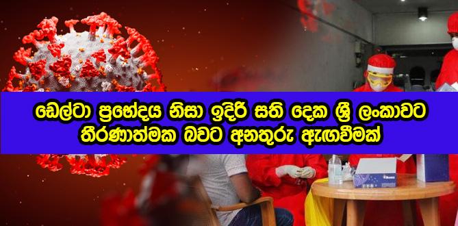 Delta Variant in Sri Lanka Next Two Weeks - ඩෙල්ටා ප්රභේදය: ඉදිරි සති දෙක ශ්රී ලංකාවට තීරණාත්මක බවට අනතුරු ඇඟවීමක්